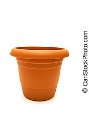 Clay pot isolated on the white background