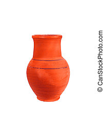 Clay pot of manual work. It is possible to store milk or ...