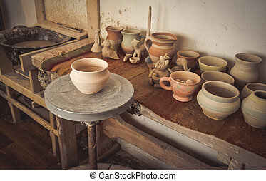 Clay pot on a potter's wheel