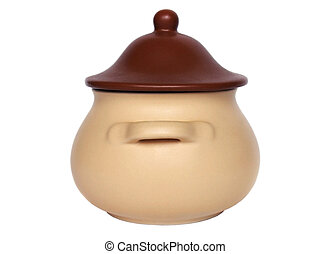 Clay pot with cover isolated