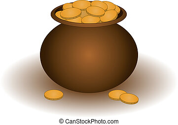 Clay pot with gold - Riches symbol: the clay pot filled with...