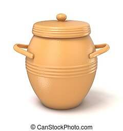 Clay pot with lid. 3D