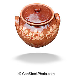 Clay pot with lid isolated over white
