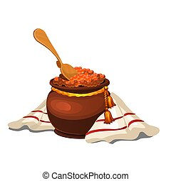 Clay pot with red caviar isolated on white background. Vector cartoon close-up illustration.