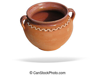 Clay pot with shadow isolated over white background