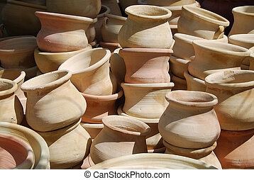 Clay pots, hand work