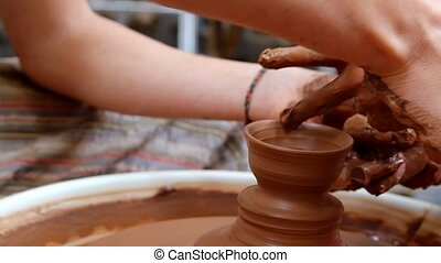 clay potter hands wheel pottery kid