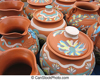 Clay pottery vase with decorative pattern