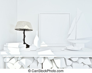 clay render of a still life in white with color lamp
