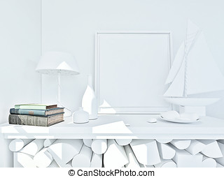 clay render of a still life in white with color books