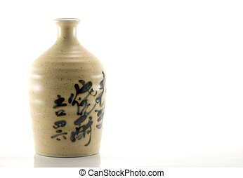 Clay Sake Bottle - single clay japanese sake bottle
