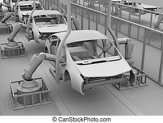 Clay shade image of car assembly