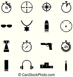 clay shooting icon set