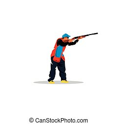 Clay shooting sign. Vector Illustration. - Branding Identity...