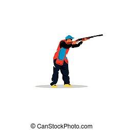 Clay shooting sign. Vector Illustration. - Branding Identity...