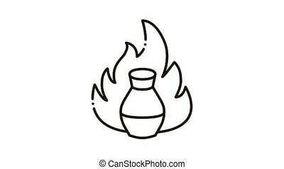 clay vase on fire Icon Animation. black clay vase on fire animated icon on white background