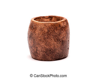 Clay vessel over white background