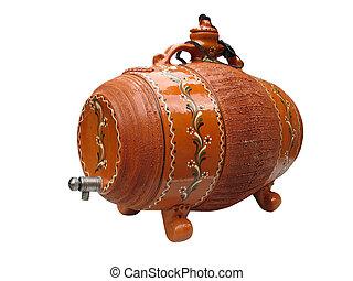 clay wine decorative barrel isolated over white