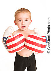 Clayton Booysen #5 - Todler standing with big boxing gloves.