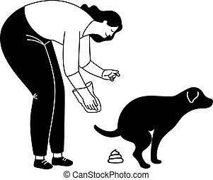 Clean after dog silhouette. Young woman clean up poo with canine bag vector illustration, pet poop wast picking pictogram