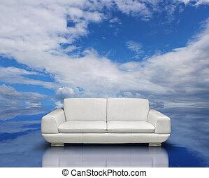 Clean air environment concept - White sofa and silver frames...