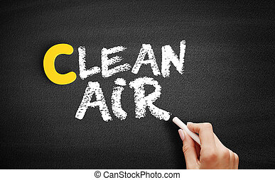 Clean Air text on blackboard, business concept background