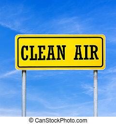 Clean air written on yellow street sign.
