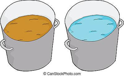 Buckets of clean and dirty water on isolated background