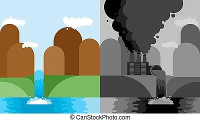 Clean and Industrial Landscape set. Plant poisonous...