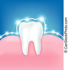 Clean and strong white tooth with glittering bright aura...
