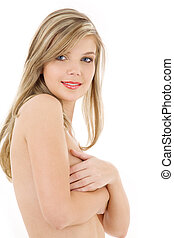 clean and tempting - picture of lovely topless blonde over...