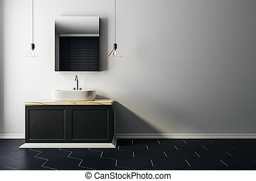 Clean bathroom with copy space