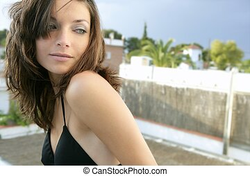 Clean beautiful woman outdoor portrait