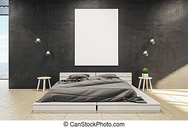 Clean bedroom interior with wooden bed