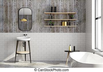 Clean black brick bathroom