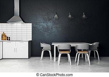 Clean black kitchen interior