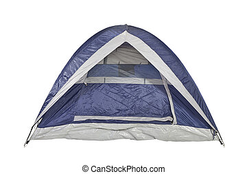 Clean Blue Tent - Clean new bright blue tent isolated with...