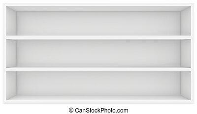 clean bookshelf. 3d render on white background