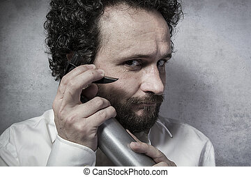 Clean, businessman with a spray, cleaning, man in white shirt with funny expressions