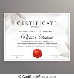 clean certificate of excellence template design