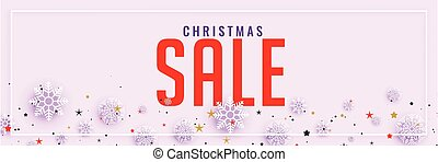 clean christmas sale banner with snowflakes decoration
