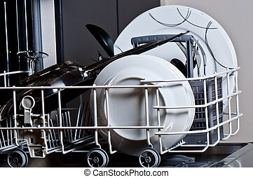 Clean dishes in the dishwasher - Clean dishes in dishwasher
