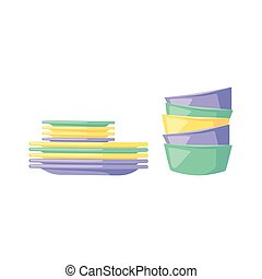 Clean dishware vector illustration.