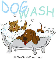 Clean Dogs - An image of a two clean dogs in a bathtub.