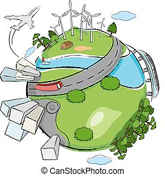 illustration of building, wind mill and tree around globe showing clean earth