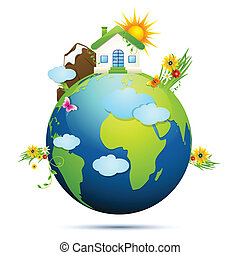 Clean Earth - illustration of home and tree around globe...