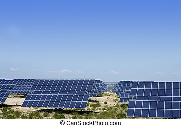 Clean electric energy solar plates generators blue sky