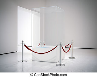 Clean empty showcase in modern gallery interior. 3d renedering