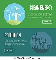 Clean energy and pollution banners