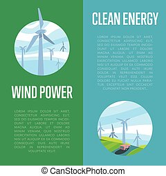 Clean energy and wind power vertical banners.